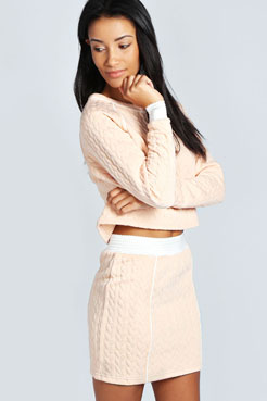 Rosie Cable Quilted Mini Skirt at boohoo.com