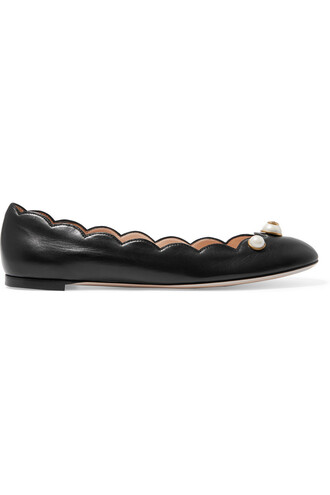 ballet embellished flats ballet flats leather black shoes