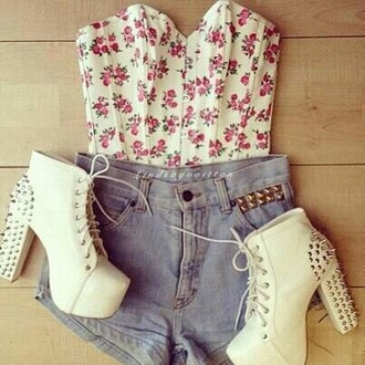 top floral spring outfit spikes jeffrey campbell
