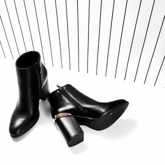 shoes metal trim boots heels classy black