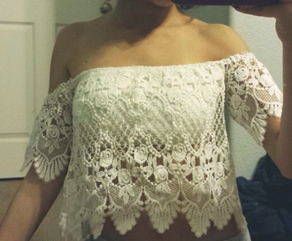lace off the shoulder blouse cute crop tops top boho hippie vintage off-white layered shirt
