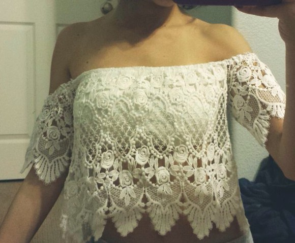 lace boho off the shoulder top blouse cute hippie vintage crop tops off-white layered shirt