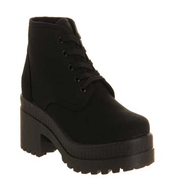 Office Chuck Canvas Chunky Lace Up Black Canvas Black Sole - Ankle Boots