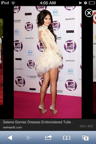 dress selena gomez lace swan ivory prom dress bare back