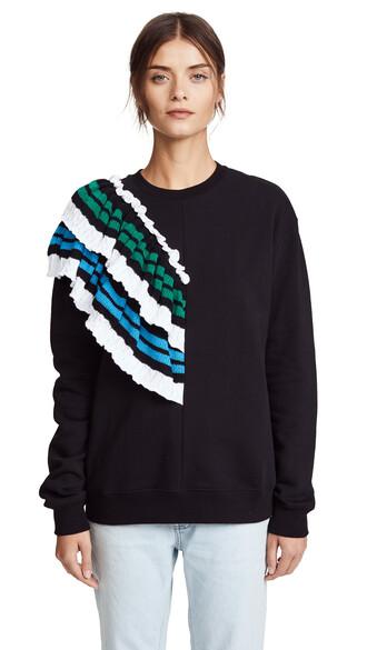 sweatshirt crochet black sweater