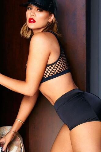 top sportswear sports bra panties shorts editorial khloe kardashian kardashians mesh top mesh cap