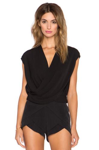 blouse cross cropped criss cross black