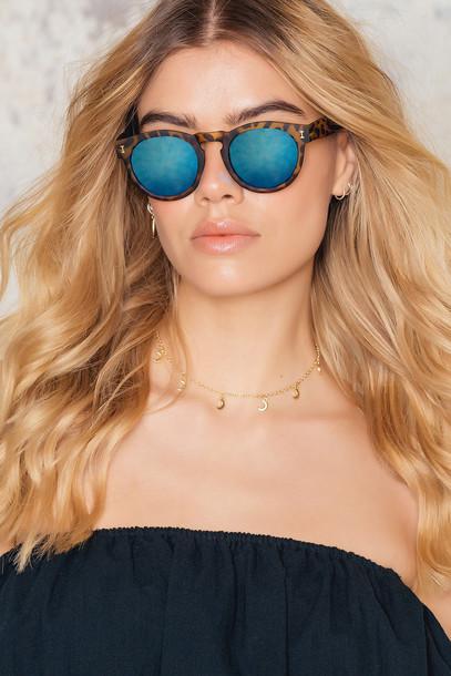 NA-KD Accessories Metallic Blue Sunglasses