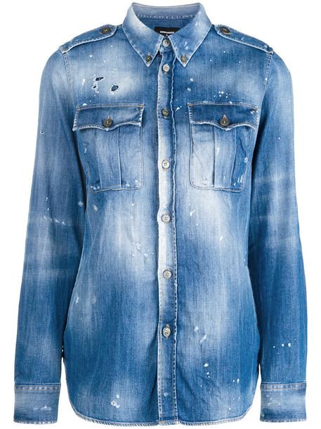 Dsquared2 shirt denim shirt denim women spandex cotton blue top