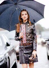 the blonde salad,blogger,louis vuitton,leather skirt,leather jacket,louis vuitton bag,fashion week 2016,paris fashion week 2016,chiara ferragni,boxed bag,bag