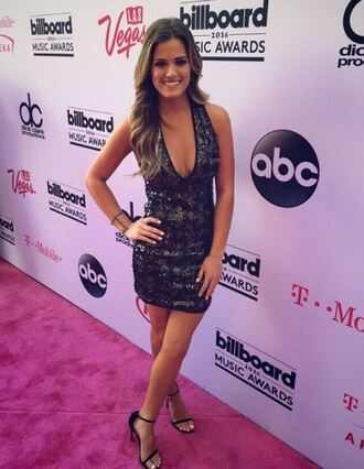 dress plunge v neck plunge dress sandals jojo fletcher mini dress sequins sequin dress billboard music awards