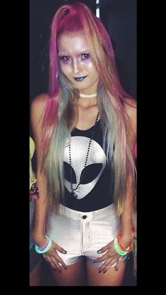 shiny top grunge punk costume alien bodysuit