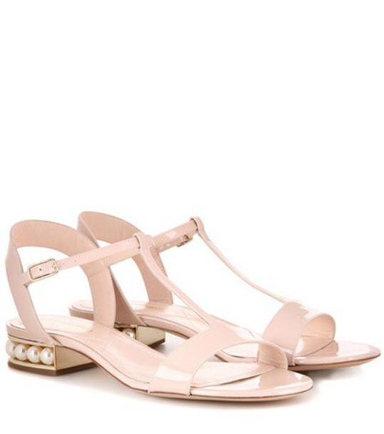 Nicholas Kirkwood Casati Embellished Patent Leather Sandals in neutrals