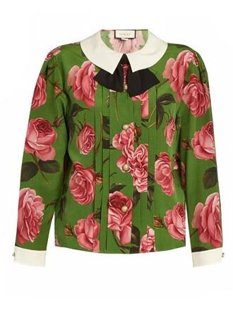 blouse long rose print silk green top