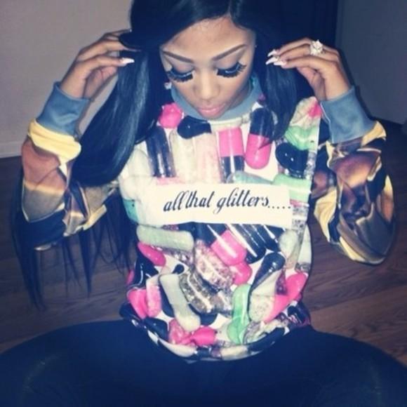 sweater glitter t-shirt glitter shirt top print too dope pills barbie sweeter