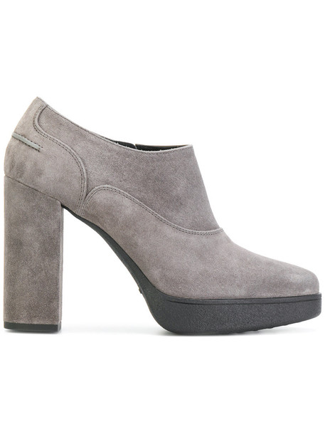 TOD'S women ankle boots leather suede grey shoes