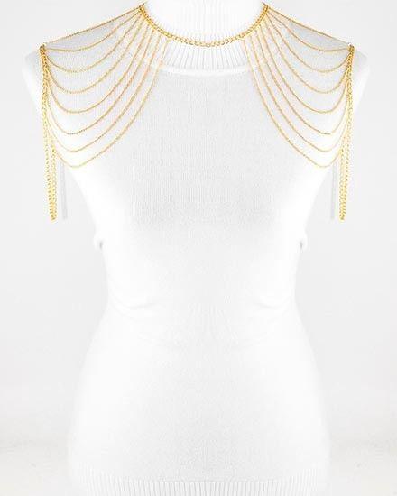 Gold Shoulder Body Jewelry Multi Chain Tassel Armor Bib Necklace | eBay