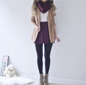 coat,tan,grey,purple,scarf,white,tights,black,boots,booties,tank top,trench coat,magenta,infinity scarf,purple scarf,winter outfits,outfit,outfit idea,cute,cute outfits,white top,white crop tops,white tank top,crop tank,winter coat,fall coat,fall outfits,skirt,skater skirt,pleated skirt,purple dress,purple skirt,circle skirt,mini skirt,short skirt,short,leggings,lace up boots,knitted scarf,knitwear