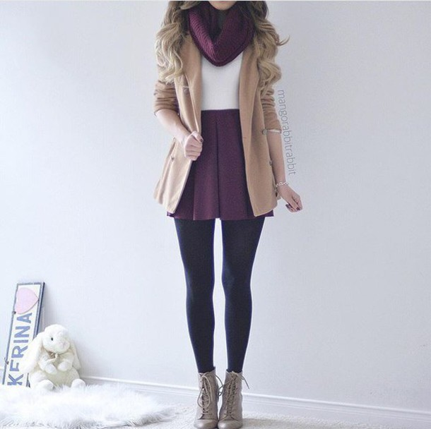 coat tan grey purple scarf white tights black