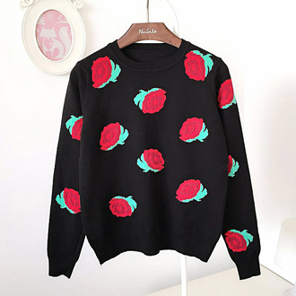 sweater warm floral fall outfits trendy strawberry long sleeves roses black rose flowers sweater black