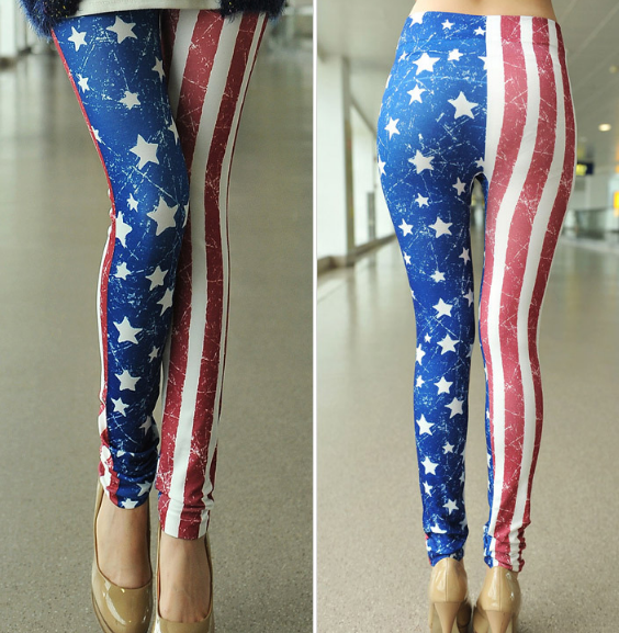 Full length usa flag star leggings