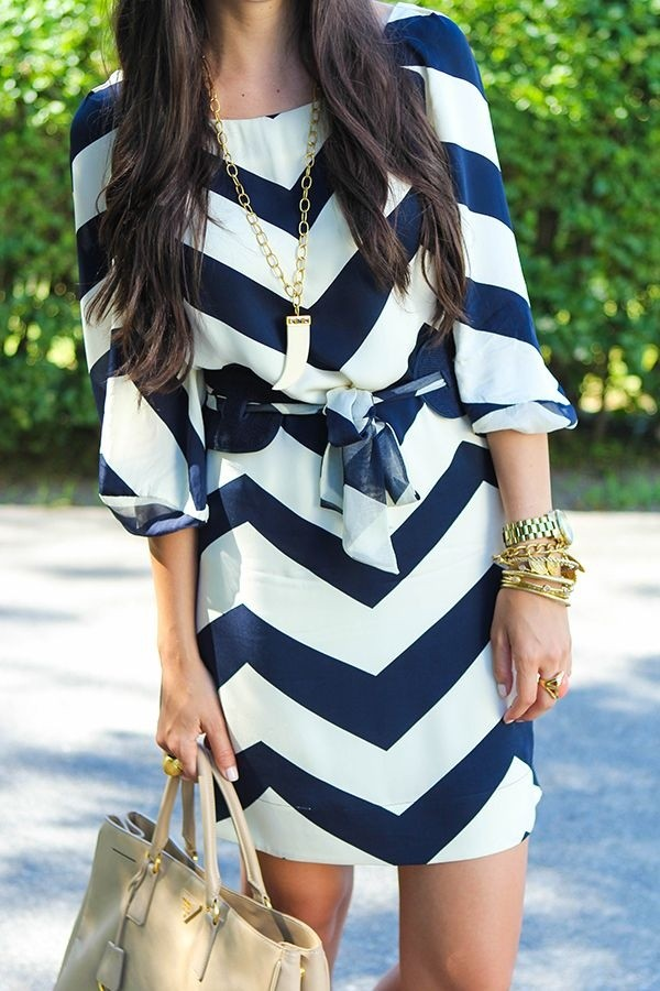 dress belt jewels chevron navy dress clothes clothes white dress chevron dresses chevron blue white bag chevron navy tie front chevron dresses blue and white dress