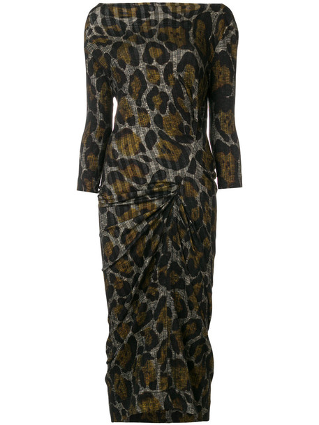 Vivienne Westwood Anglomania dress women spandex cotton print brown leopard print