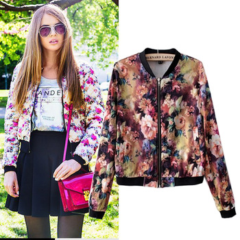 SCT31 2014 New Arrival Forest Flower Ladies Printed Crop Bomber ...