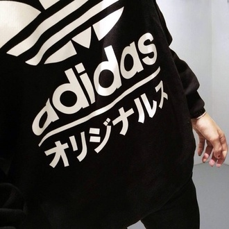 shirt adidas top sweater adidas chinese letters black and white adidas sweater black white black sweater asian korean fashion korean style japanese japanese fashion cool