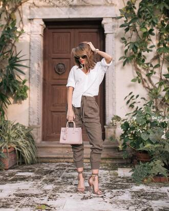 pants tumblr cropped pants khaki khaki pants sandals sandal heels high heel sandals shirt white shirt bag pink bag sunglasses