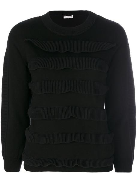 Sonia Rykiel - frilled jumper - women - Cotton/Nylon - L, Black, Cotton/Nylon