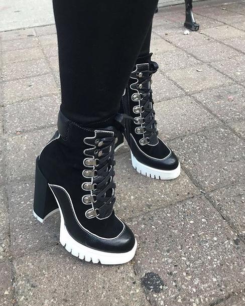 shoes black boots heels
