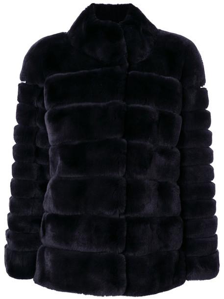 N.Peal jacket fur women black satin