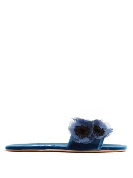 Miu Miu embellished velvet blue shoes