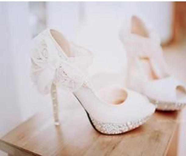 shoes white heels stilettos flower bow wedding shoes peep toe heels gliiter heels wedding shoes