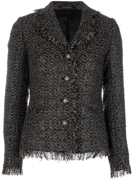 blazer women classic cotton black wool jacket