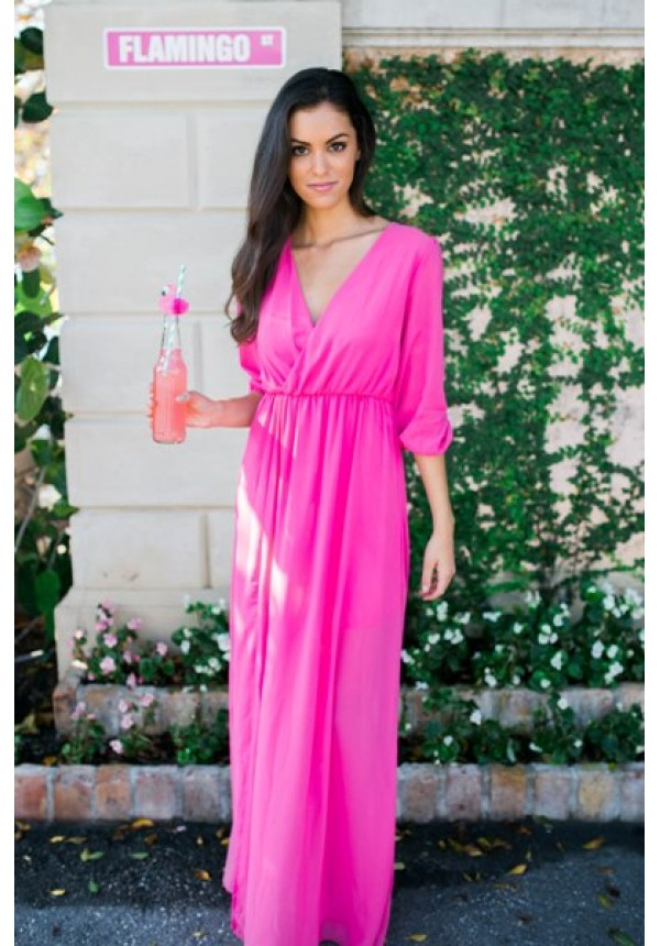 Fuchsia Pink Maxi Dress With 3 4 Sleeve Molly Escloset Com