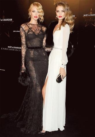dress candice swanepoel rosie huntington-whiteley white dress black lace dress