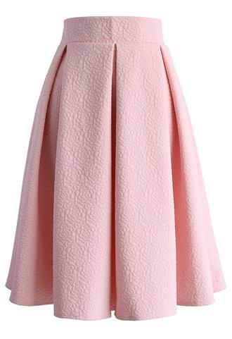 skirt reminisce from rose embossed midi skirt in baby pink chicwish midi skirt pink skirt