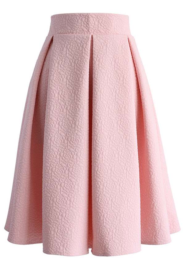 reminisce from embossed midi skirt in baby pink