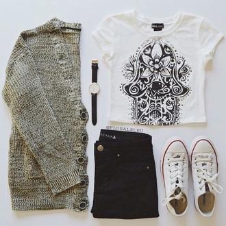 cardigan jeans t-shirt hamsa outfit fashion inspo style fashion