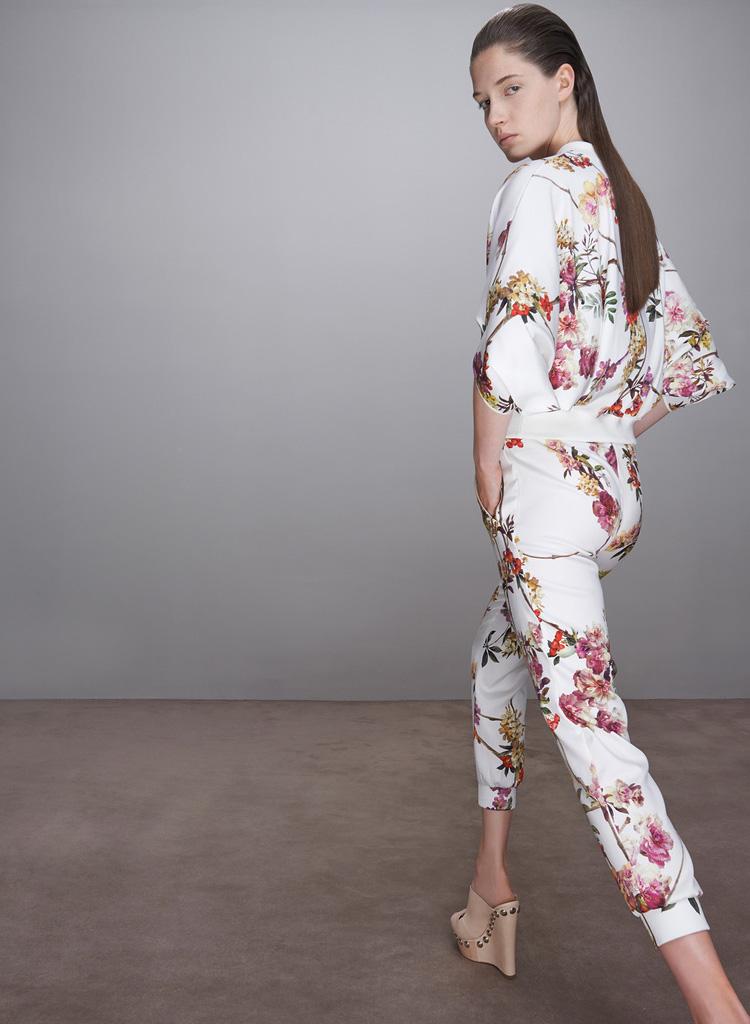 Printed Silk Jacket Pant Suit A377$85