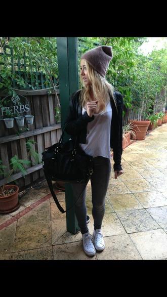 bag leather bag leggins white converse beanie leggings hat