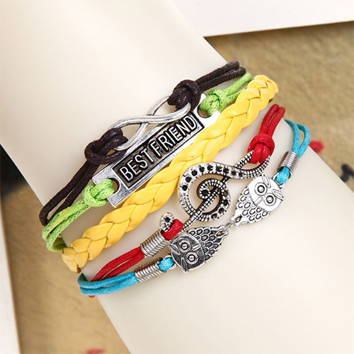 [grxjy51201248]Vintage Musical Notes Owls Multilayer Woven Bracelet
