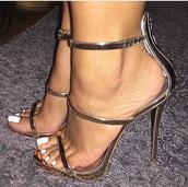 shoes,high heel sandals,sandals,metallic shoes