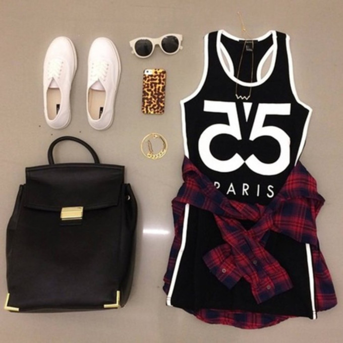 Black And White Casual Clothes Cool Dress Fashion Girl Gold Outfits Plaid Shirt Shoes
