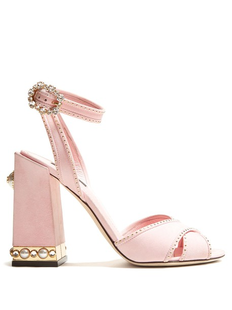 Dolce & Gabbana embellished sandals suede light pink light pink shoes
