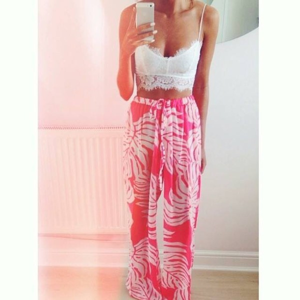 skirt pink white top bralette