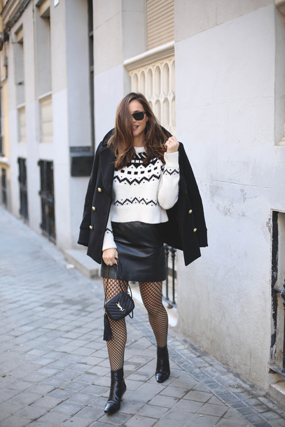 f480ce7d643 lady addict blogger jacket sweater skirt bag shoes leather skirt winter  outfits black coat white sweater