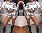 shorts,shiny,metallic,two-piece,hot pants,silver,festival outfit